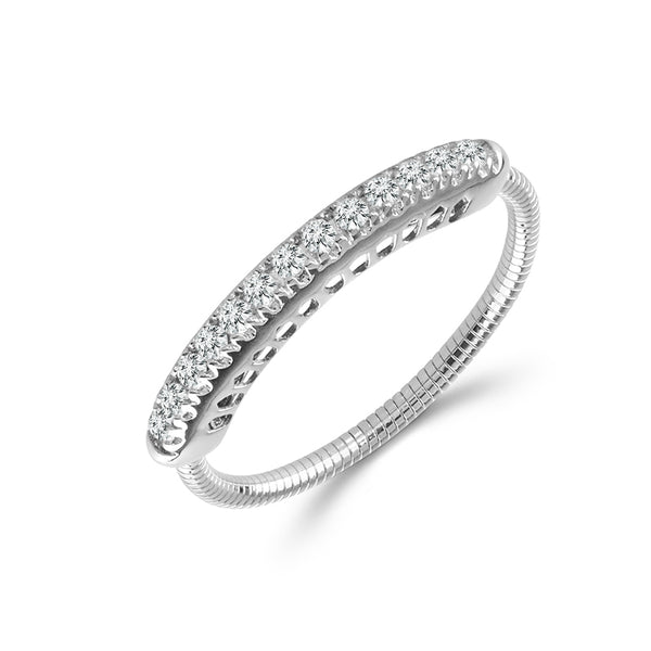 14K White Gold 0.20 ct. tw. Pave Diamond Flexible Bar Ring