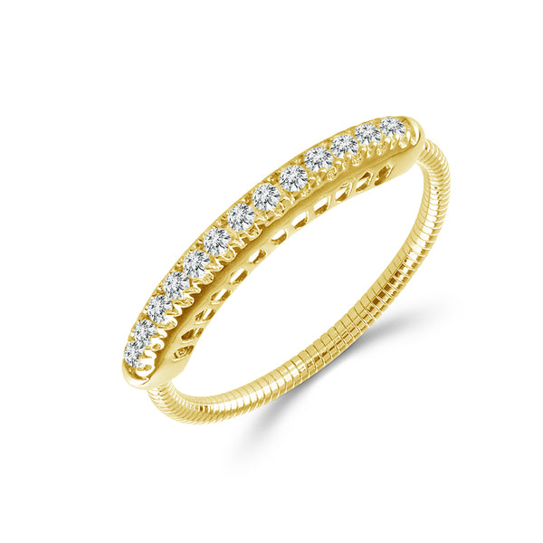 14K Yellow Gold 0.20 ct. tw. Pave Diamond Flexible Bar Ring
