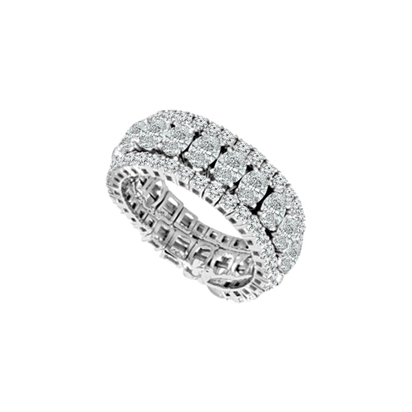 14K White Gold 3.50 ct. tw. Oval and Round Diamond Flexible Eternity Band