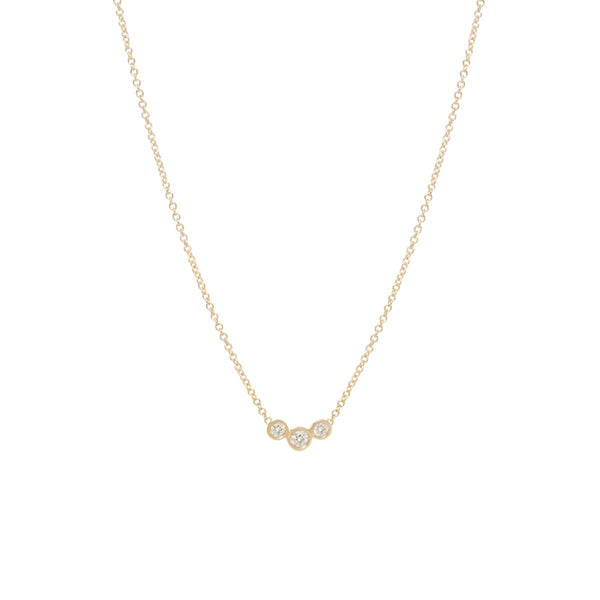 14K GRADUATED BEZEL DIAMOND NECKLACE