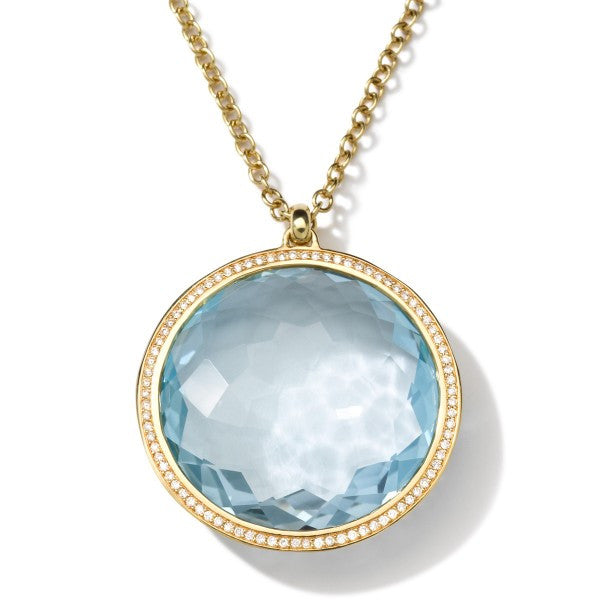 Lollipop 18K Gold Large Pendant Necklace with Diamonds, Blue Topaz