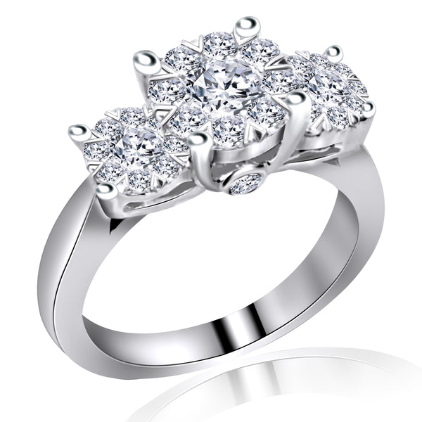 14k White Gold Three Stone Cluster Diamond Ring (1.13 ct. tw.)
