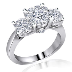 14k White Gold Three Stone Cluster Diamond Ring (1.15 ct. tw.)