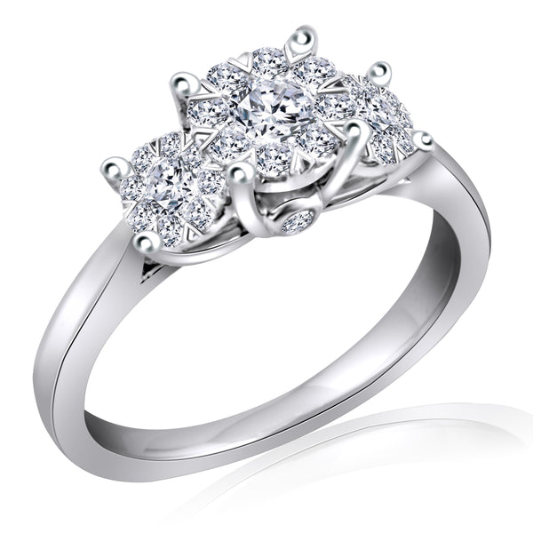 14k White Gold Three Stone Cluster Diamond Ring (.54 ct. tw.)