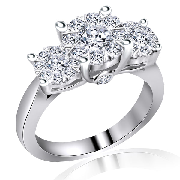 14k White Gold Three Stone Cluster Diamond Ring (1.50 ct. tw.)