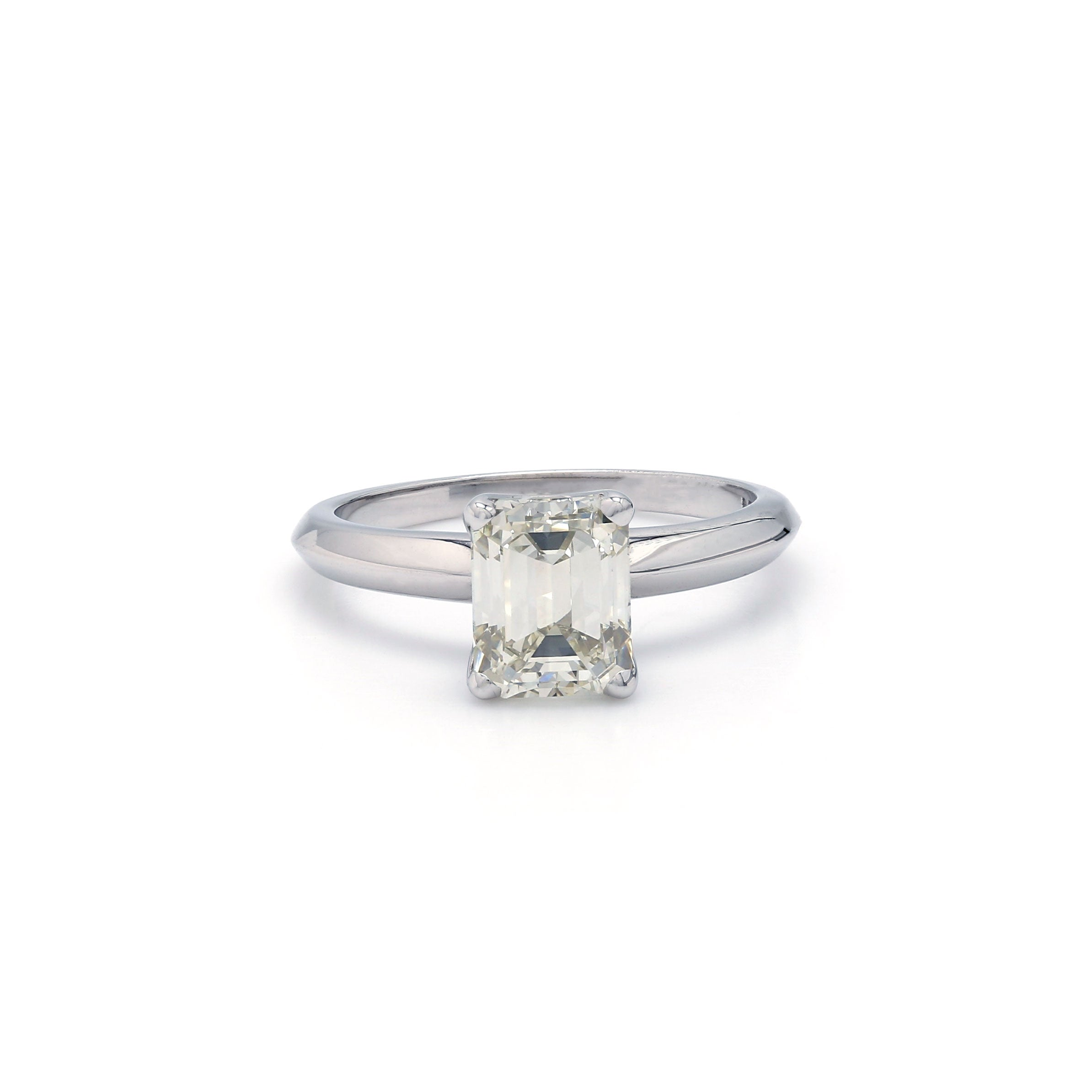 14K White Gold 1.61CT Lab Grown Diamond Emerald Cut Solitaire Ring