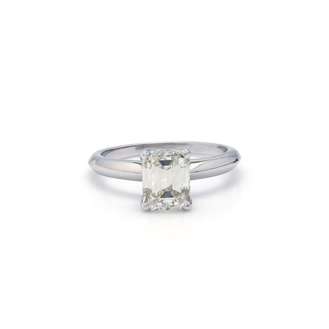 14K White Gold 1.01CT Lab Grown Diamond Emerald Cut Solitaire Ring
