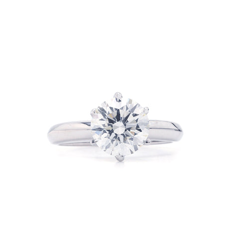 14K White Gold 2.00CT Lab Grown Diamond Round Solitaire Ring