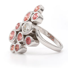 14K White Gold 2.00CTTW Lab Grown Diamond Pink and White Bezel Set Cluster Ring
