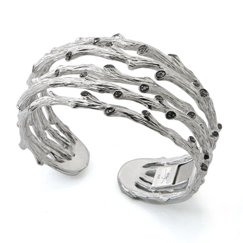 ENCHANTED FOREST STERLING SILVER TWIG 5-ROW CUFF WITH BLACK DIAMONDS