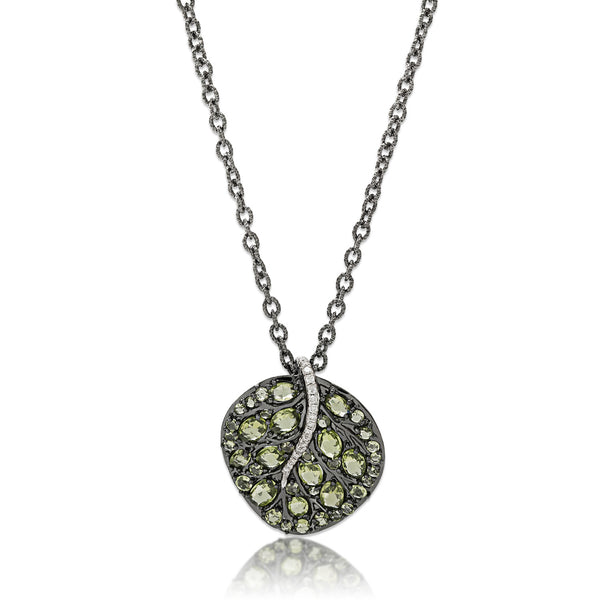 BOTANICAL LEAF PENDANT NECKLACE WITH PERIDOT AND DIAMONDS