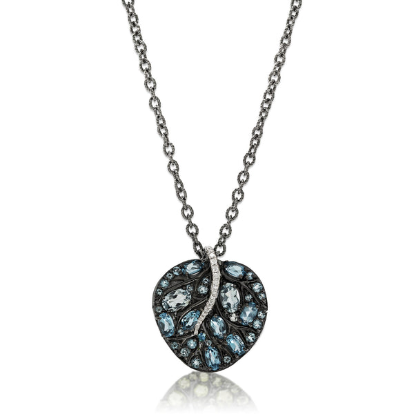BOTANICAL LEAF PENDANT NECKLACE WITH BLUE TOPAZ AND DIAMONDS