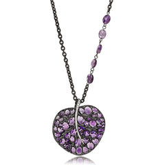 BOTANICAL LEAF PENDANT NECKLACE WITH AMETHYST AND DIAMONDS