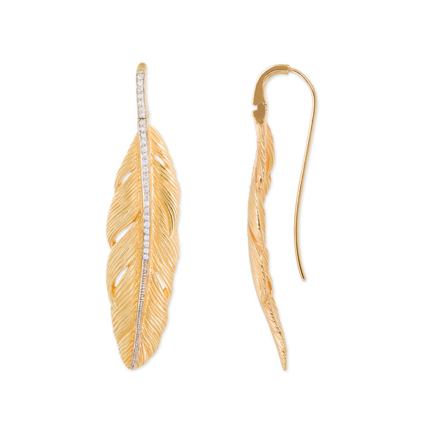 FEATHER DROP EARRING WITH WHITE DIAMONDS