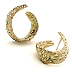 PALM GOLD CRESCENT DIAMOND EARRING