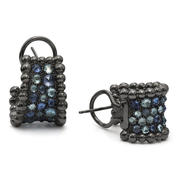 MOLTEN BLUE TOPAZ AND SAPPHIRE HUGGIE EARRING
