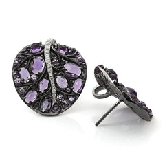 BOTANICAL LEAF EARRING WITH AMETHYST AND DIAMONDS