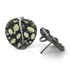 BOTANICAL LEAF EARRING WITH PERIDOT AND DIAMONDS