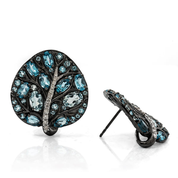 BOTANICAL LEAF EARRING WITH BLUE TOPAZ AND DIAMONDS