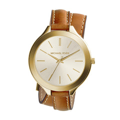 Slim Runway Luggage Leather Double Wrap Strap Watch