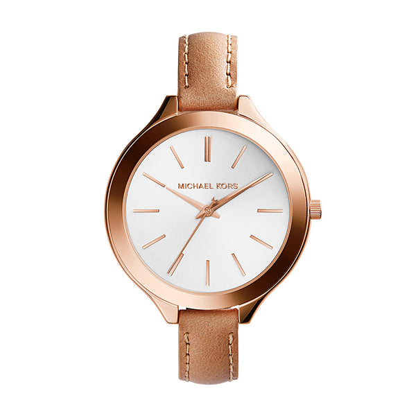 Rose Gold Tone Stainless Steel and Vachetta Leather Strap Watch