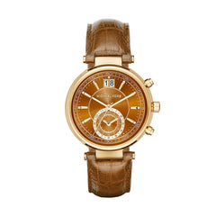 Sawyer Amber Croc-Embossed Leather Strap Watch