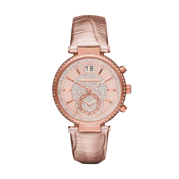 Sawyer Rose Gold-Tone And Leather Watch