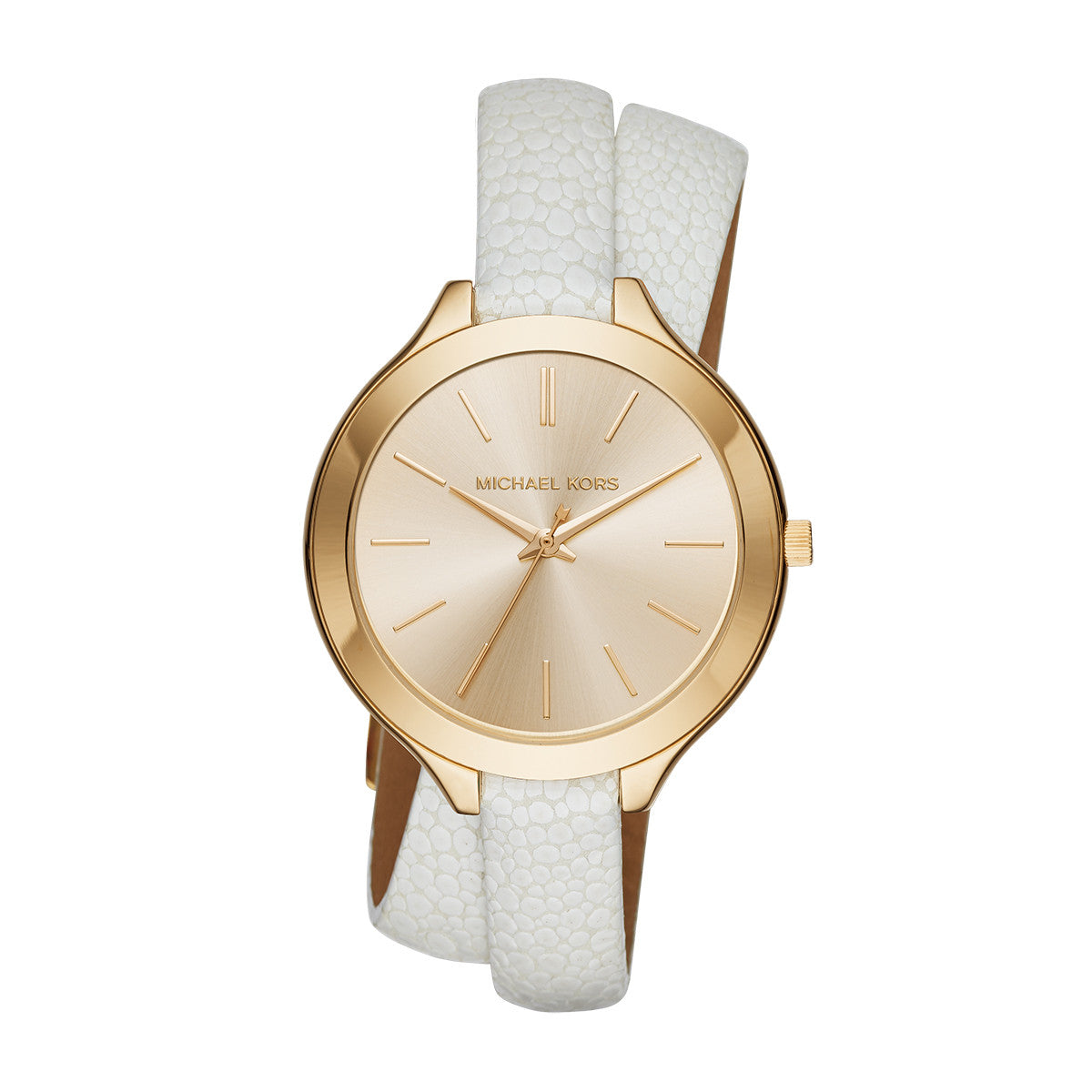 105a04d8e1 Slim Runway White Leather and Gold-Tone 3 Hand Watch – Little Switzerland