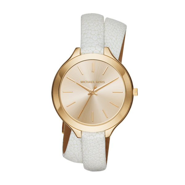 Slim Runway White Leather and Gold-Tone 3 Hand Watch