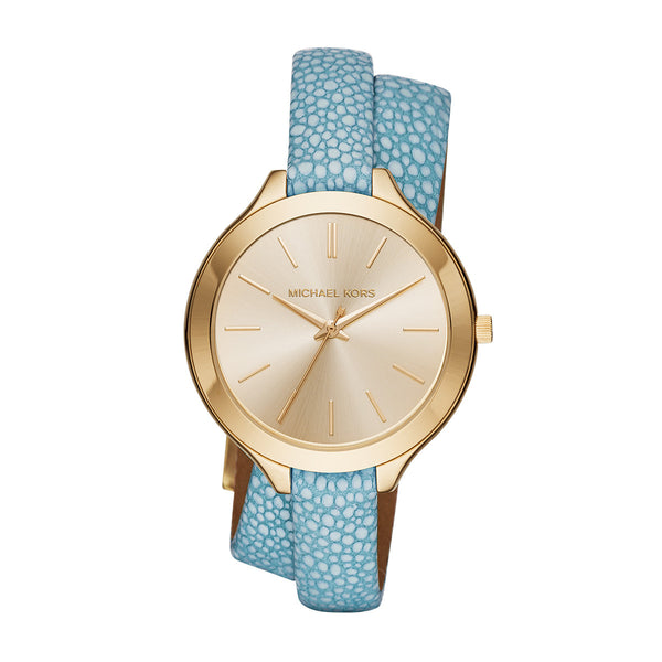 Slim Runway Blue Leather and Gold-Tone 3 Hand Watch