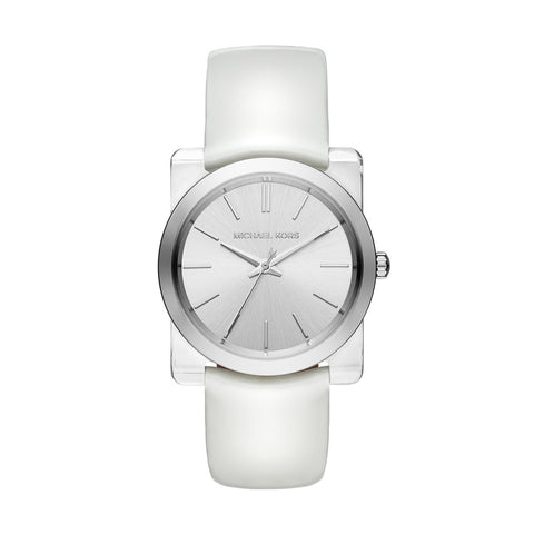 Kempton White Patent Leather and Acetate 3 Hand Watch