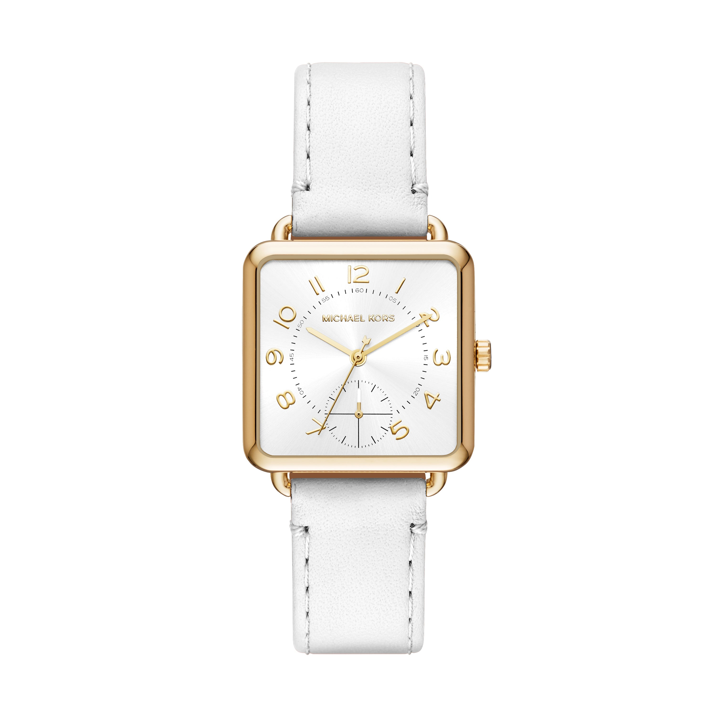 Brenner White Leather Strap Watch