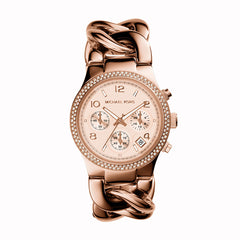 Chronograph Runway Twist Rose Gold-Tone Stainless Steel Bracelet Watch