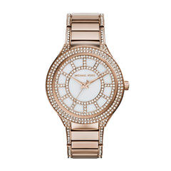 Kerry Crystal Accent Rose Gold-Tone Stainless Steel Bracelet Watch