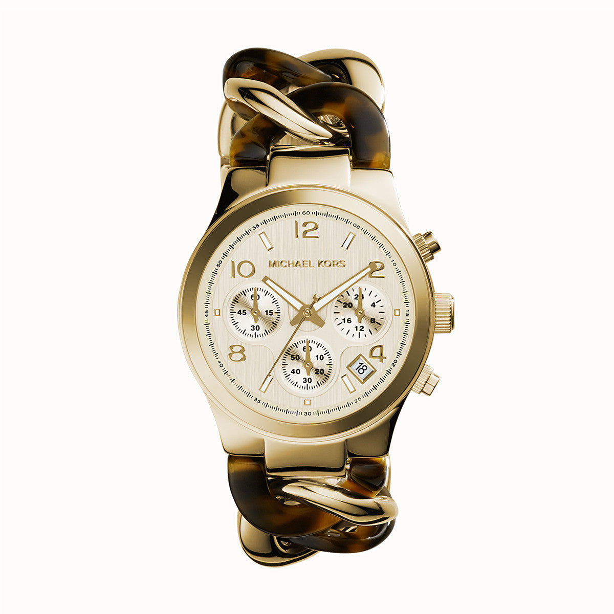 Chronograph Runway Twist Gold-Tone Stainless Steel and Tortoise Acrylic Bracelet Watch