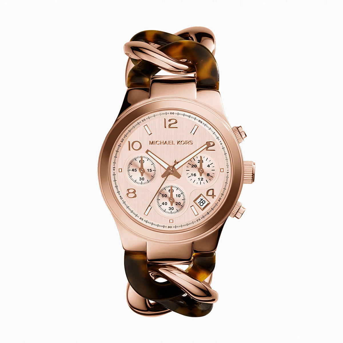 Chronograph Runway Twist Tortoise Acetate and Rose Gold-Tone Stainless Steel Bracelet Watch