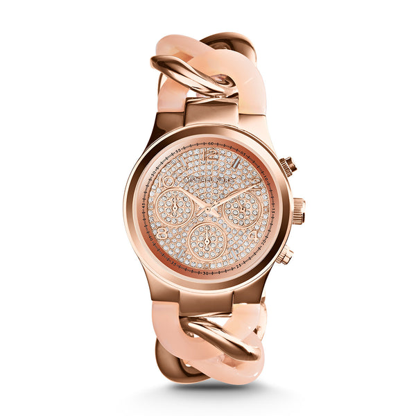 Chronograph Runway Twist Blush and Rose Gold-Tone Stainless Steel Watch