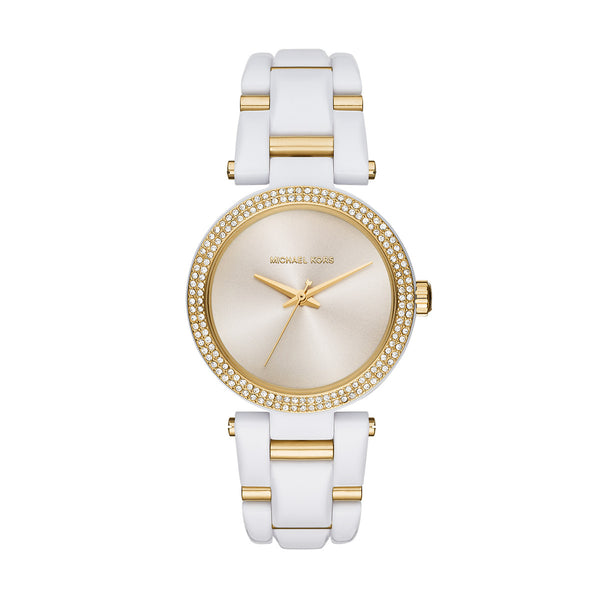 Gold Tone and White Acetate Delray Watch