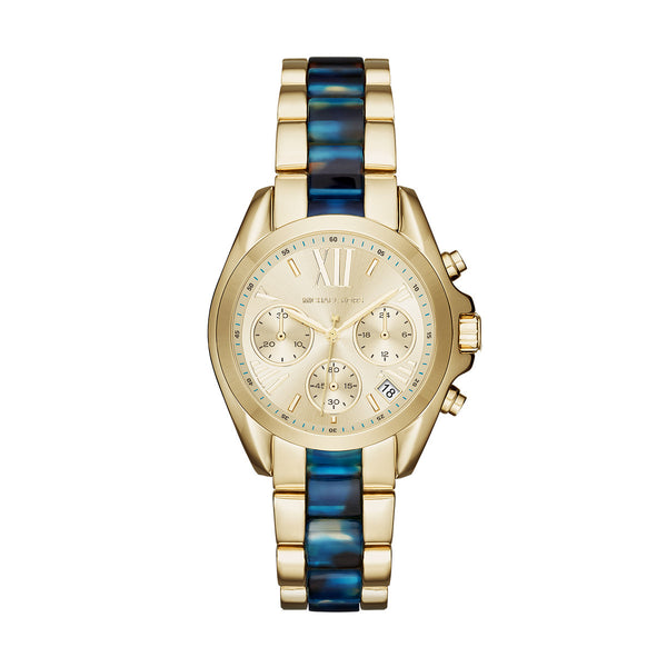 Mini Bradshaw Gold-Tone and Lagoon Tort Acetate Chrono Watch