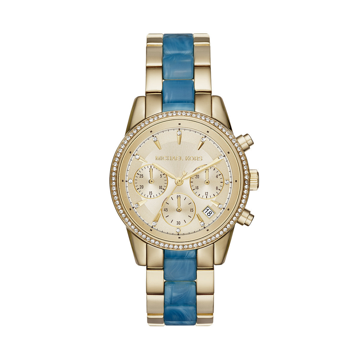 Ritz Gold-Tone and Blue Acetate Chrono Watch
