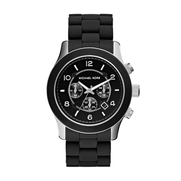 Men's Runway Black Silicone Chronograph Watch