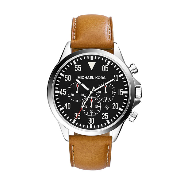 Gage Silver-Tone Leather Watch