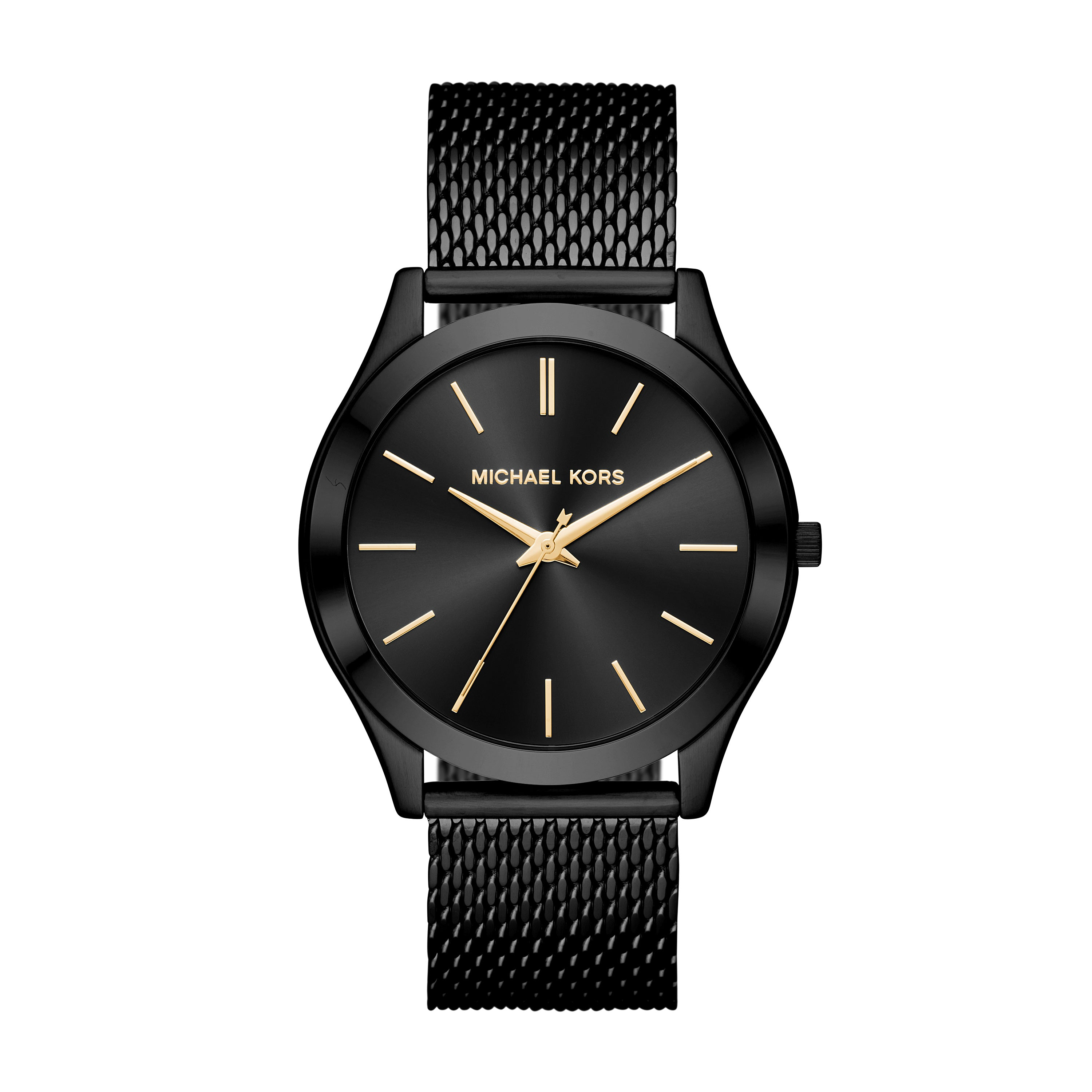 Slim Runway Mesh Black-Tone Watch
