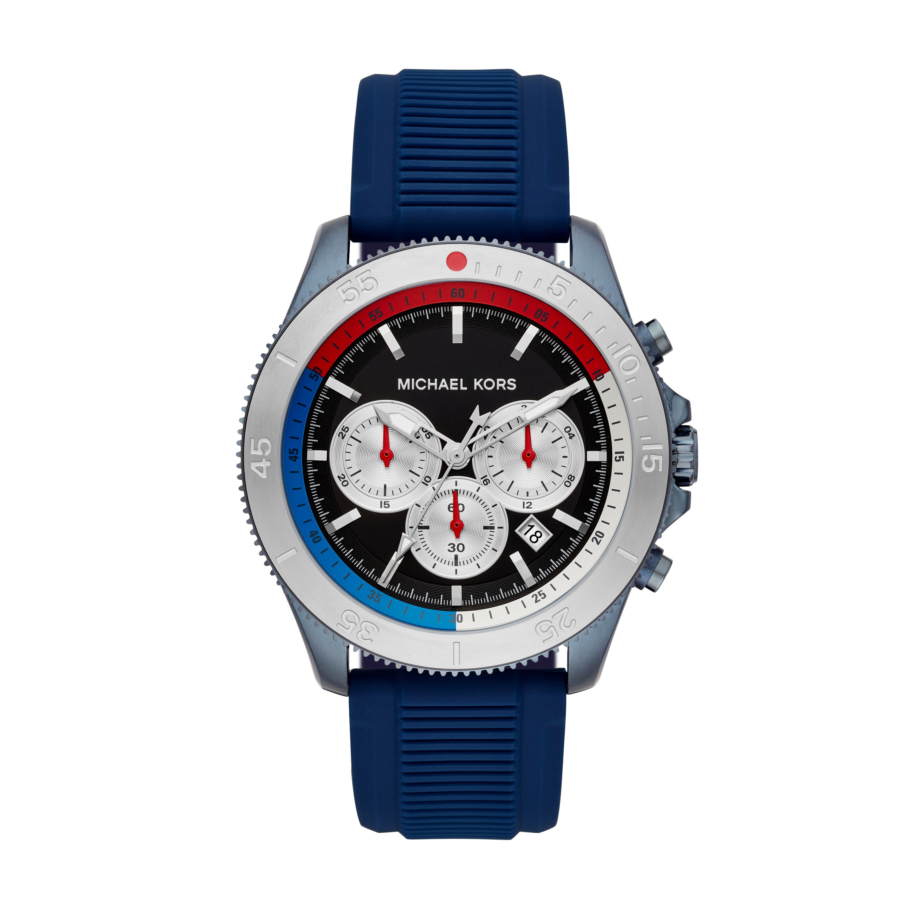 Oversized Cortland Blue-Tone and Silicone Watch