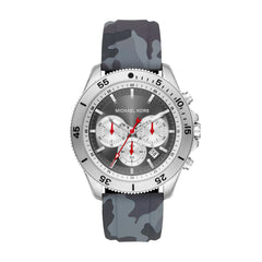 Oversized Cortland Silver-Tone and Camo Silicone Watch