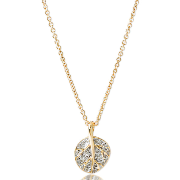 BOTANICAL LEAF GOLD PAVE DIAMOND NECKLACE