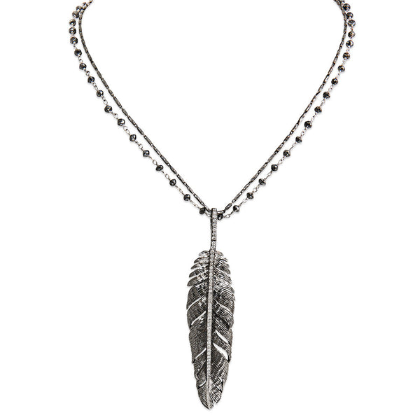 FEATHER PENDANT WHITE DIAMOND NECKLACE WITH BLACK DIAMOND CHAIN