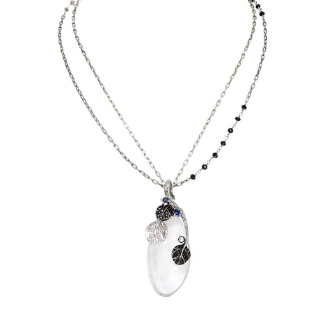 BOTANICAL LEAF ROCK CRYSTAL PENDANT NECKLACE WITH BLACK DIAMOND CHAIN