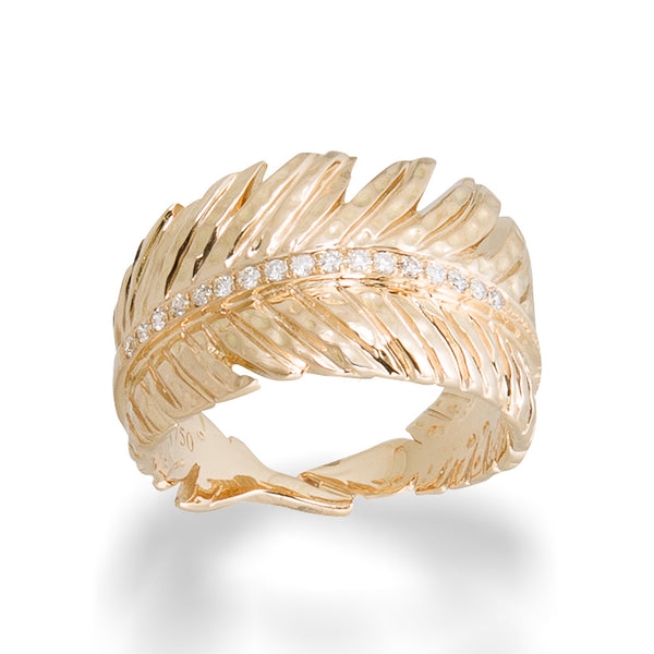 FEATHER GOLD CUFF RING WITH WHITE DIAMONDS