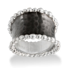 MOLTEN STERLING SILVER WIDE CUFF RING